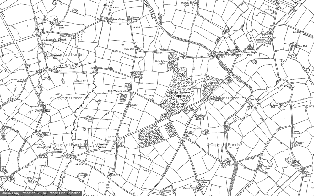 Old Map of Historic Map covering Whitlock's End in 1886