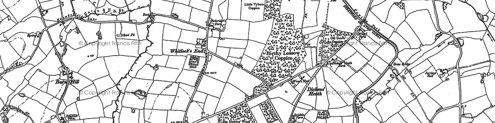 Old map of Whitlock's End in 1886