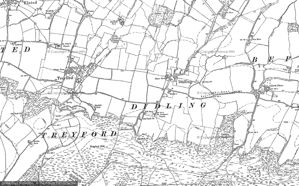 Old Map of Historic Map covering Linchball Wood in 1896