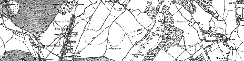 Old map of Digswell Water in 1897