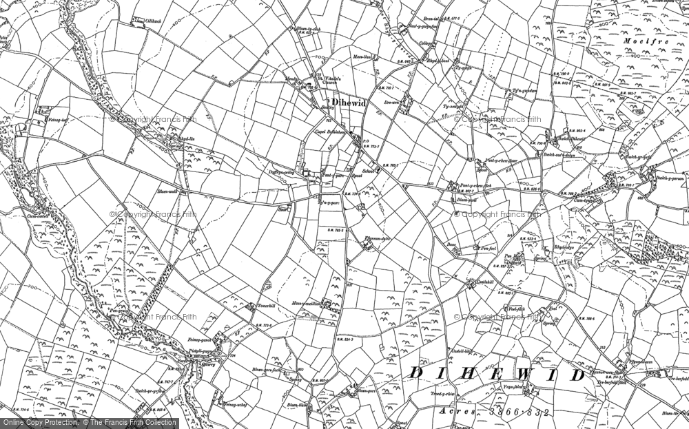 Old Map of Historic Map covering Afon Feinog in 1887
