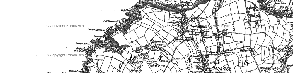 Old map of Aber Pensidan in 1906