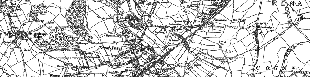 Old map of Dinas Powis in 1899