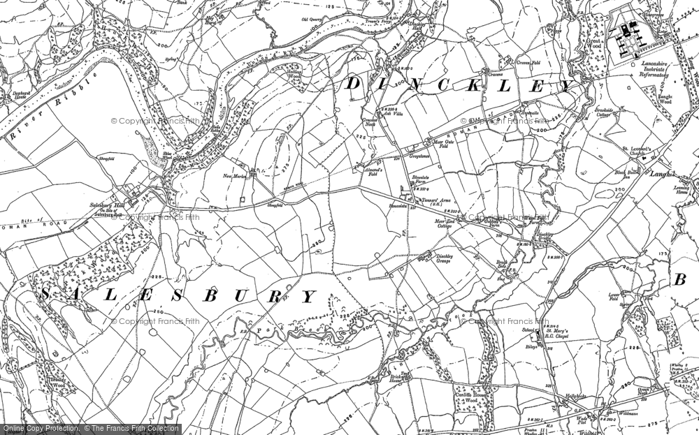 Old Map of Historic Map covering Aspinalls in 1892