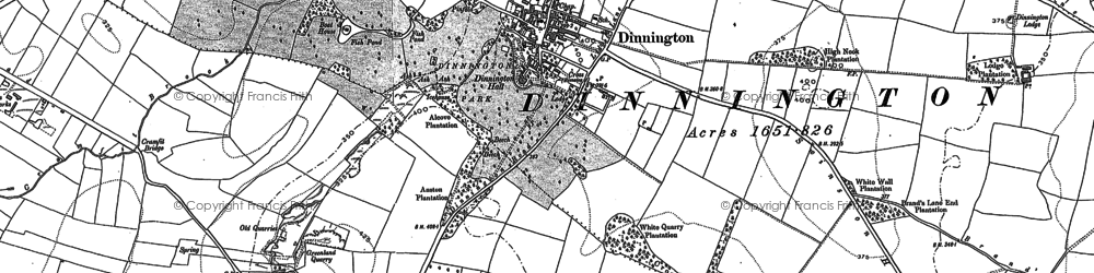 Old map of Dinnington in 1890