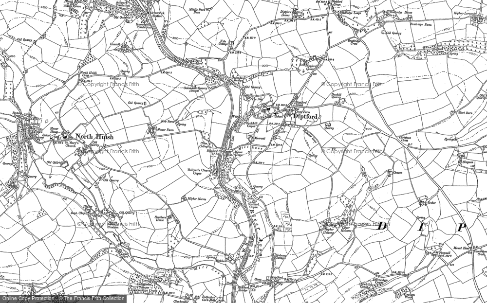 Old Map of Historic Map covering Lincombe in 1886