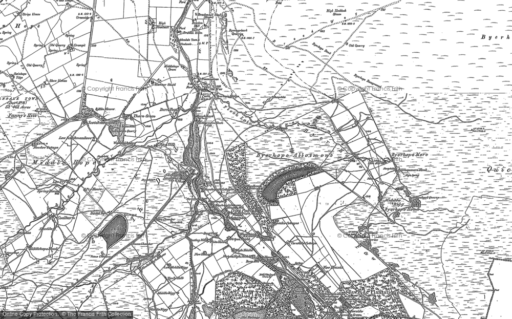 Old Map of Historic Map covering Allendale Common in 1895