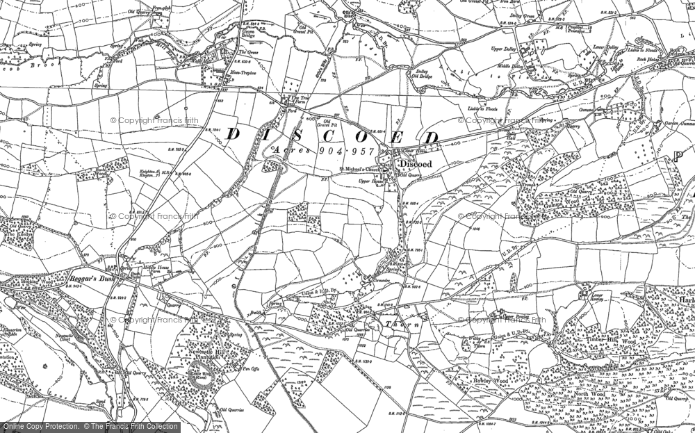 Old Map of Historic Map covering Ackhill in 1887