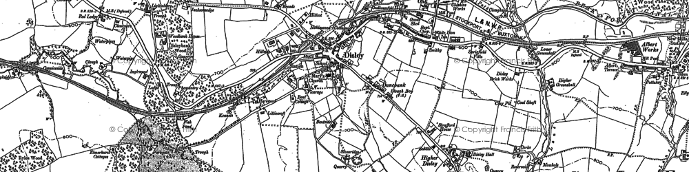 Old map of Disley in 1896