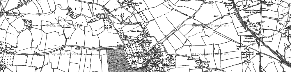 Old map of Ditcheat in 1884