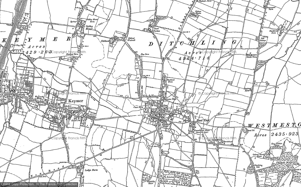 Old Map of Ditchling, 1896 - 1897 in 1896
