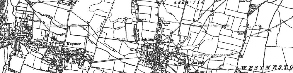 Old map of Ditchling in 1896