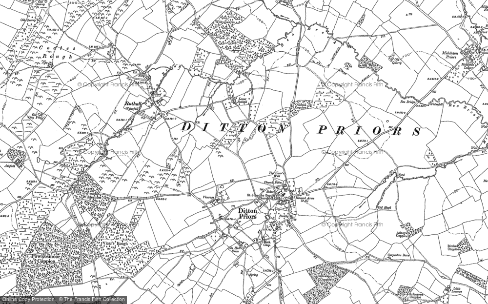 Old Map of Historic Map covering Woodend in 1883