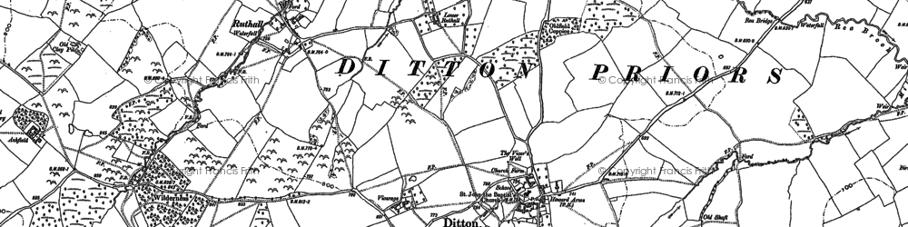 Old map of Woodend in 1883