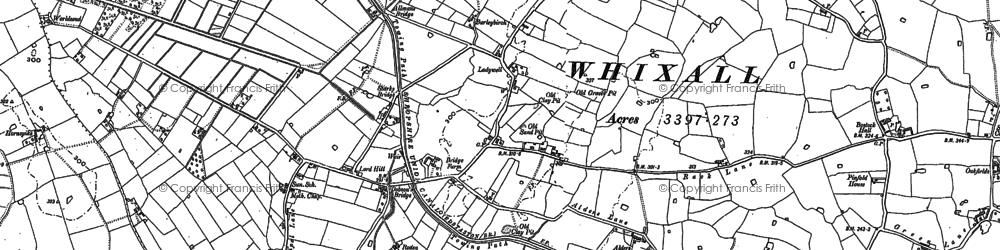 Old map of Whixall Moss in 1880