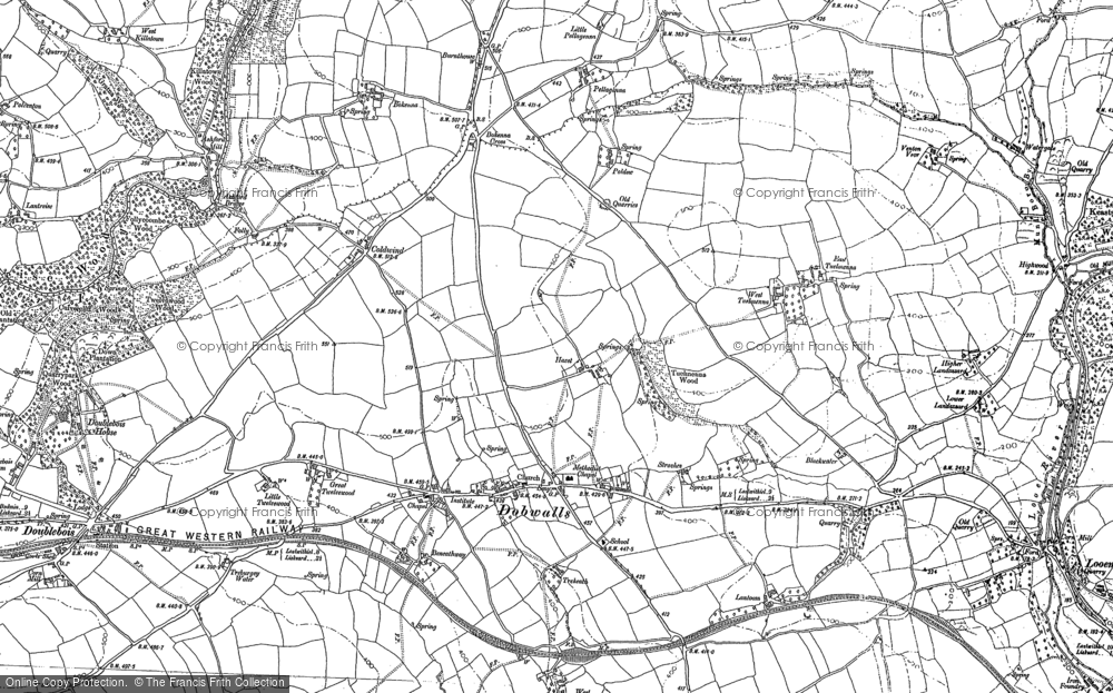 Old Map of Historic Map covering Ashford Br in 1881