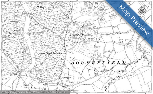 Old Map of Historic Map covering Woodhill in 1909