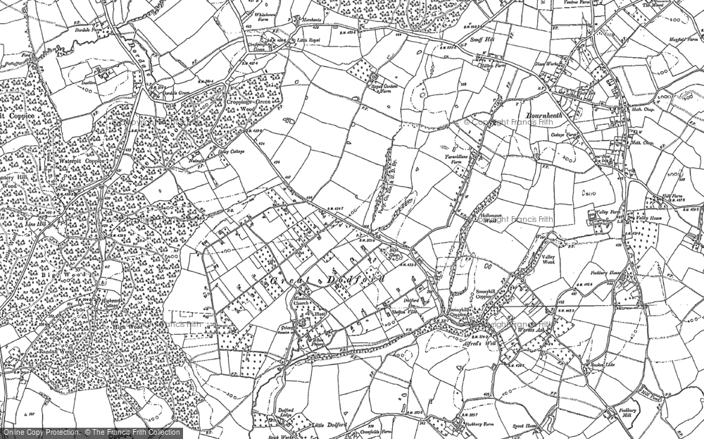 Old Map of Historic Map covering Woodcote Green in 1883