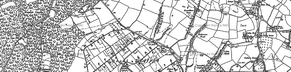 Old map of Worms Ash in 1883