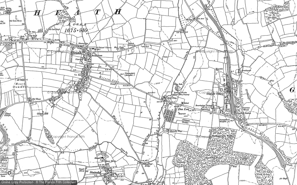 Old Map of Historic Map covering Ault Hucknall in 1897