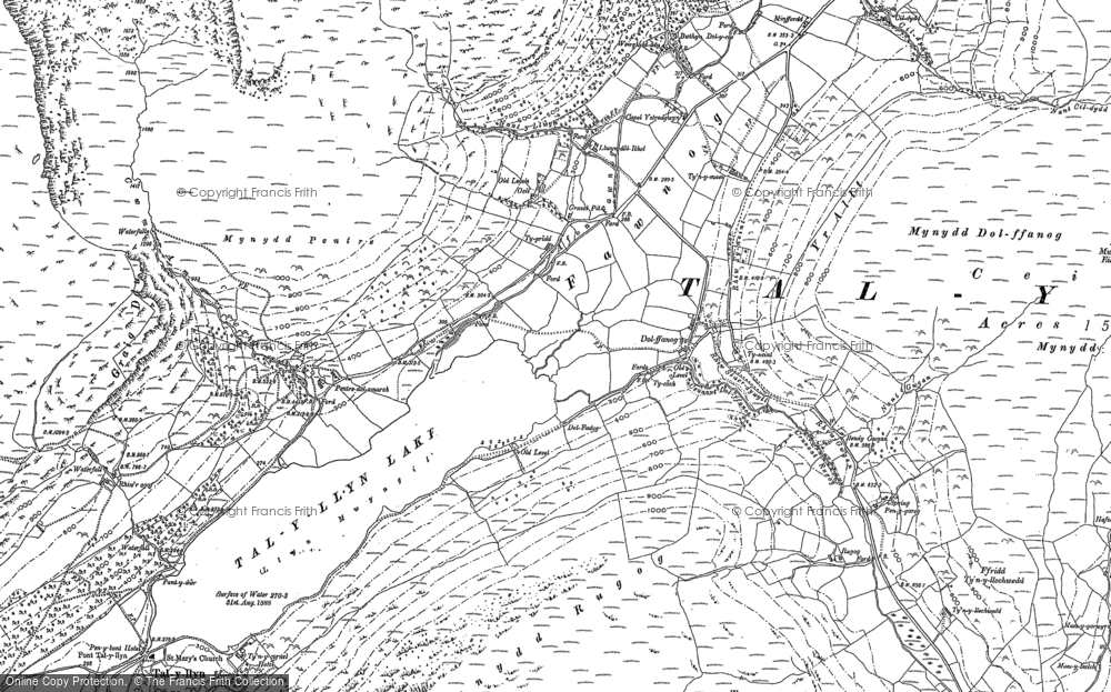 Old Map of Historic Map covering Afon Fawnog in 1886