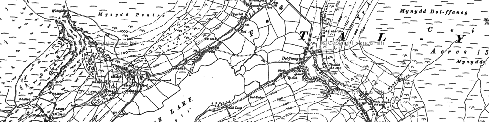 Old map of Afon Fawnog in 1886
