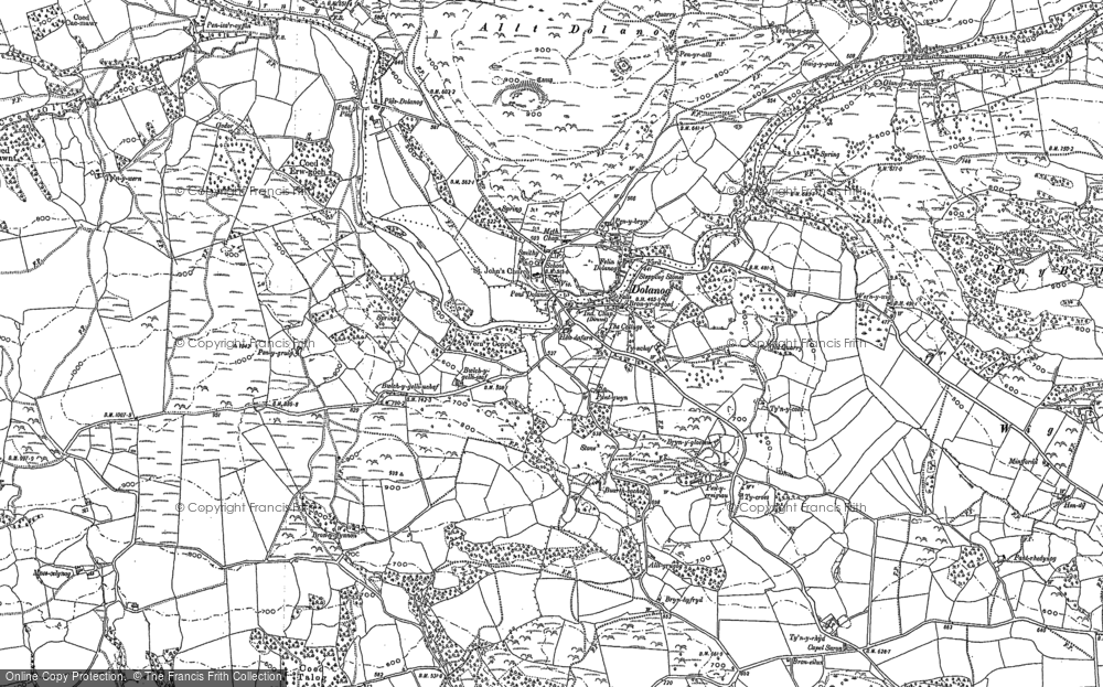 Old Map of Historic Map covering Allt Dolanog in 1885