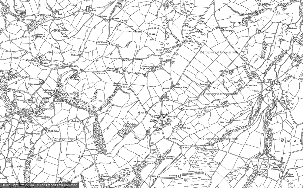 Old Map of Historic Map covering Banc Cefnperfedd in 1884