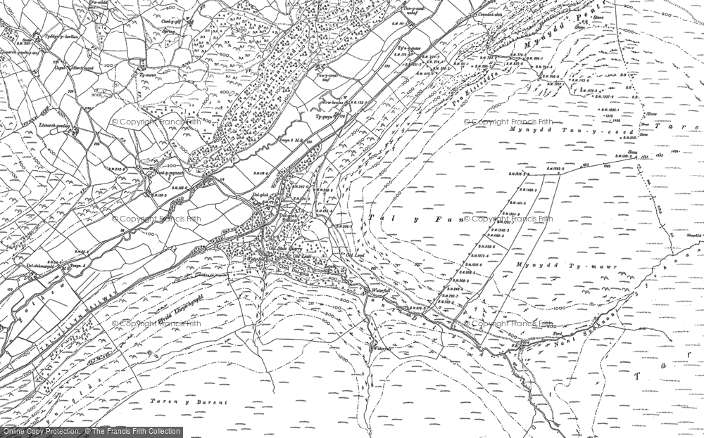 Old Map of Historic Map covering Allt Nantygwenlli in 1900