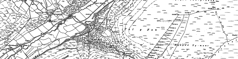 Old map of Afon Cwm-pandy in 1900