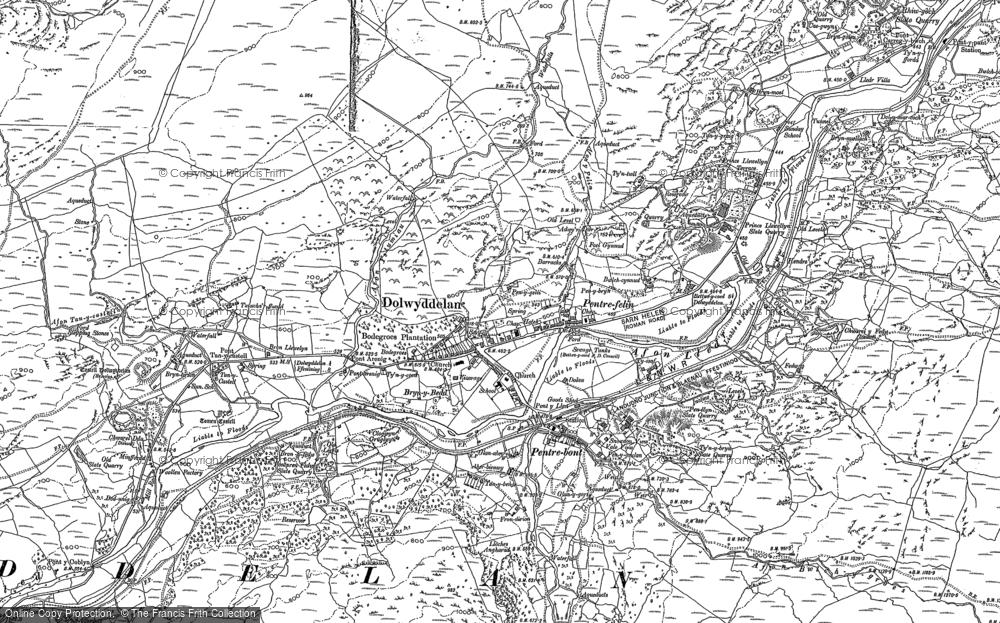 Old Map of Historic Map covering Afon Ystumiau in 1887