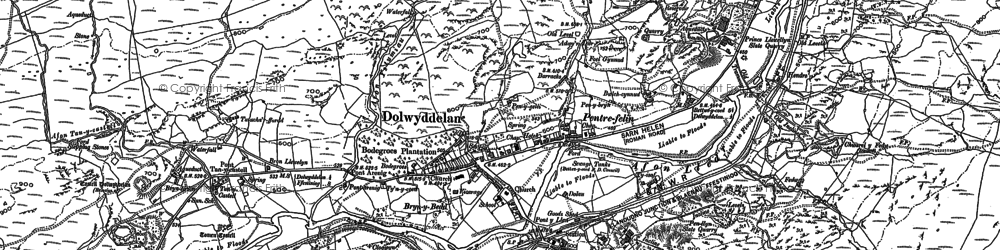 Old map of Afon Lledr in 1887