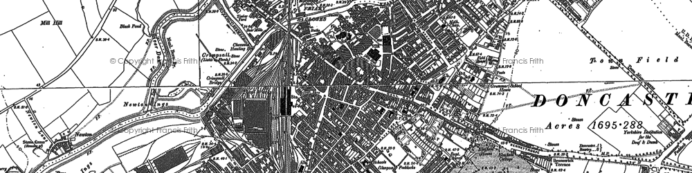 Old map of Doncaster in 1890