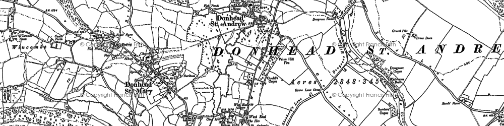 Old map of Donhead St Andrew in 1900