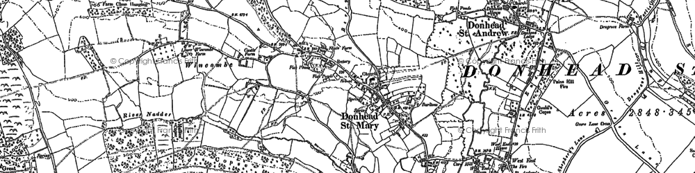 Old map of Wincombe in 1900