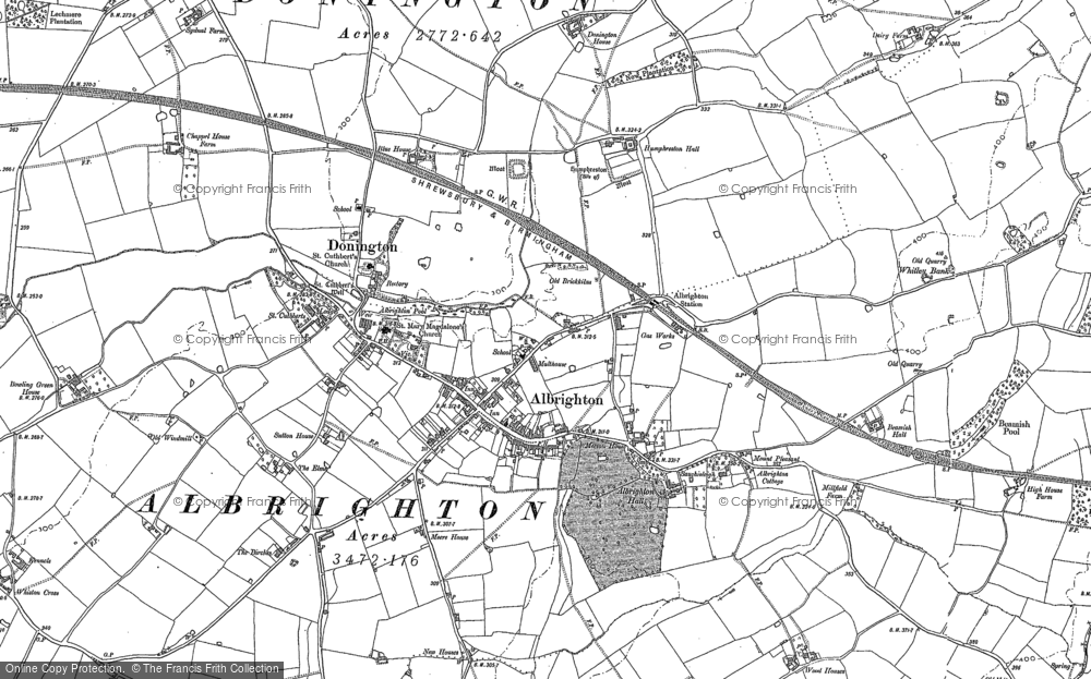 Old Map of Historic Map covering Albrighton in 1881