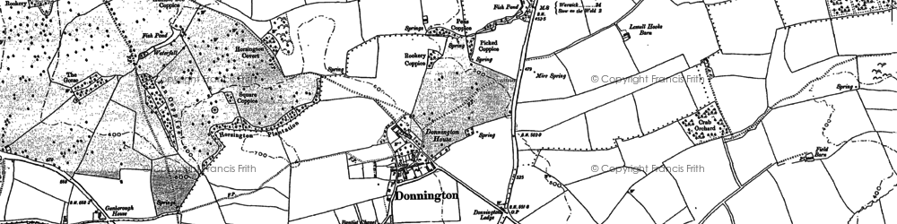 Old map of Donnington in 1900