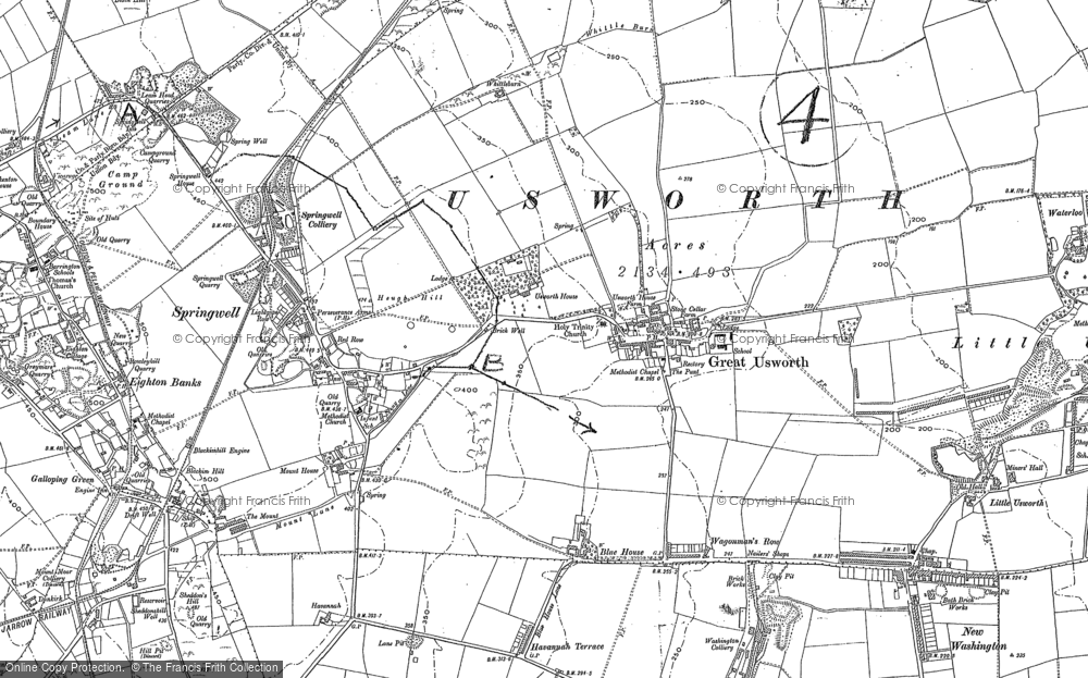 Old Map of Historic Map covering Leam, The in 1895