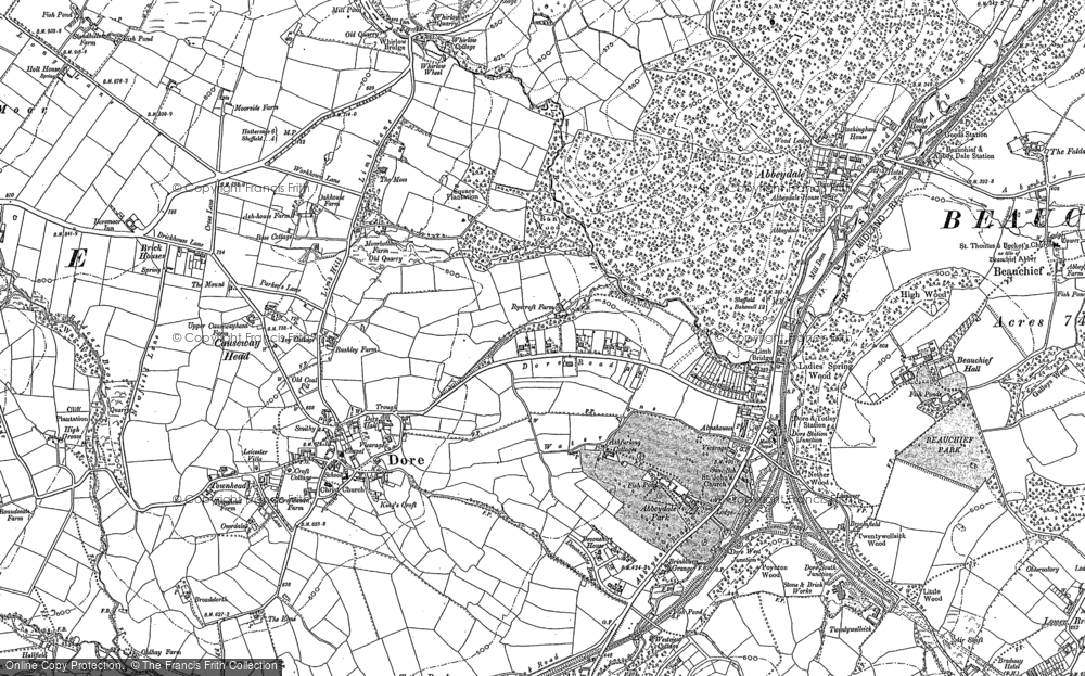 Old Map of Historic Map covering Whirlow Brook in 1903