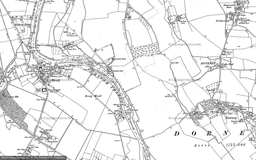 Old Map of Historic Map covering Amerden Ho in 1910