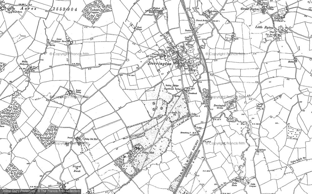 Old Map of Dorrington, 1882 in 1882