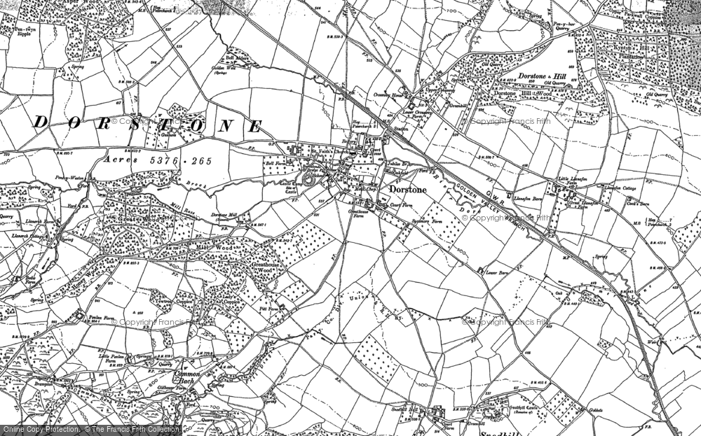 Old Map of Historic Map covering Arthur's Stone (Burial Chamber) in 1903