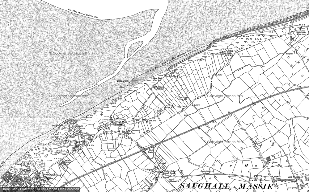 Old Map of Historic Map covering Great Meols in 1909