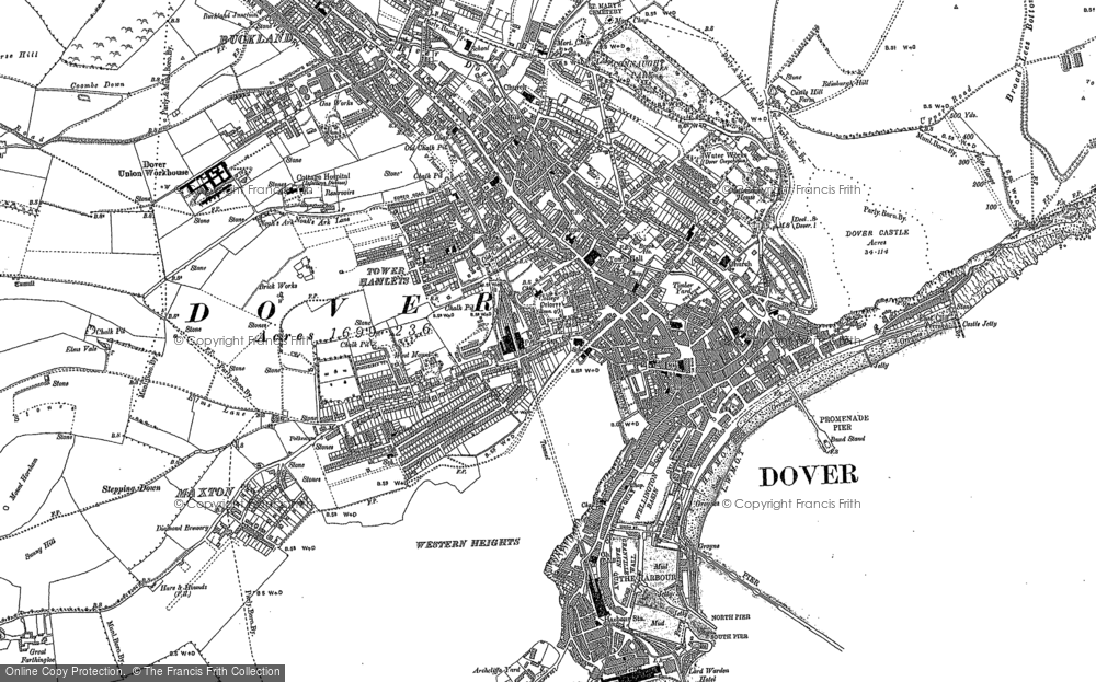 Old Map of Historic Map covering Tower Hamlets in 1906