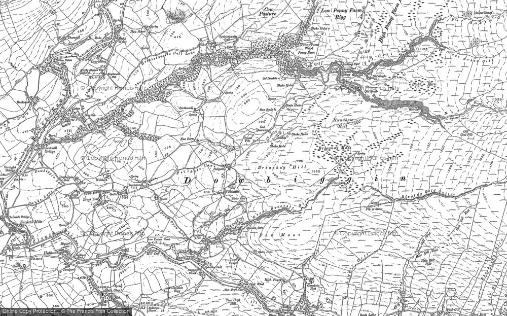 Old Map of Historic Map covering Thursgill in 1907