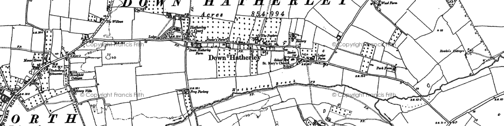 Old map of Down Hatherley in 1883