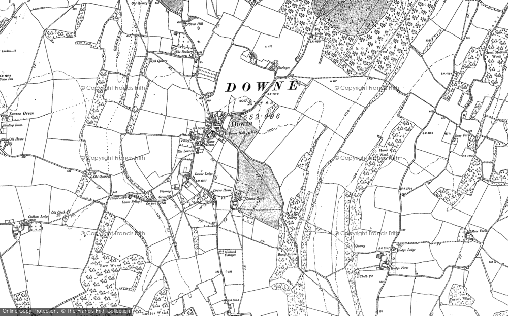 Old Map of Historic Map covering Leaves Green in 1895