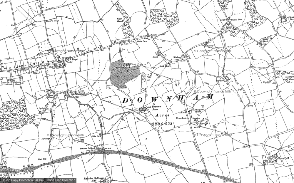 Old Map of Downham, 1895 in 1895