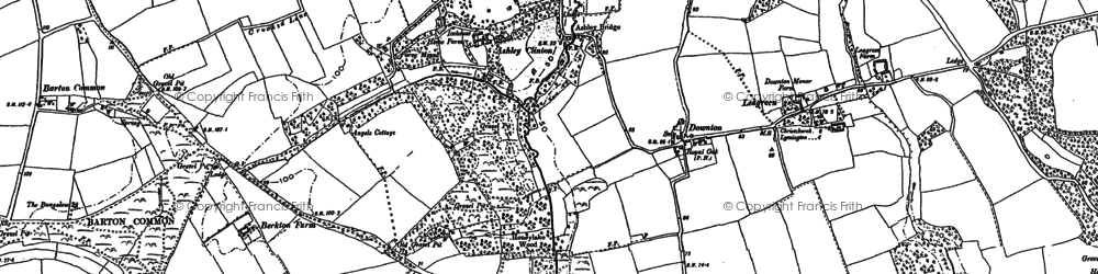 Old map of Downton in 1907