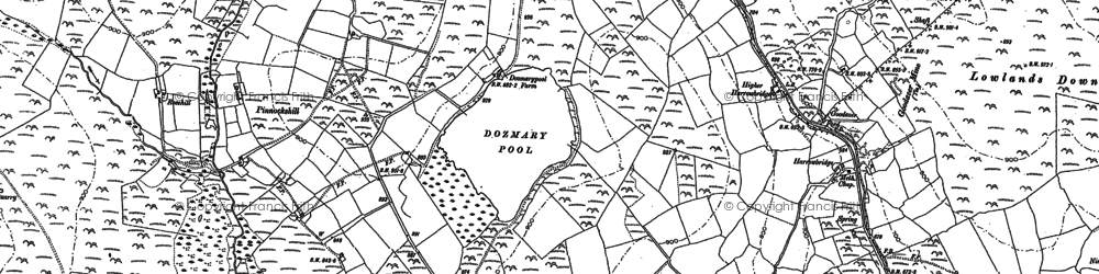 Old map of Dozmary Pool in 1881